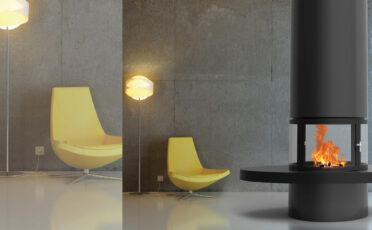 Camino di design da interno Diamante centrale con vetri